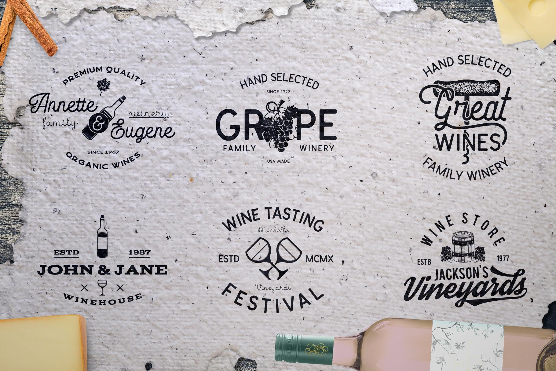 Winery Logo Designs & Wine Elements example image 3