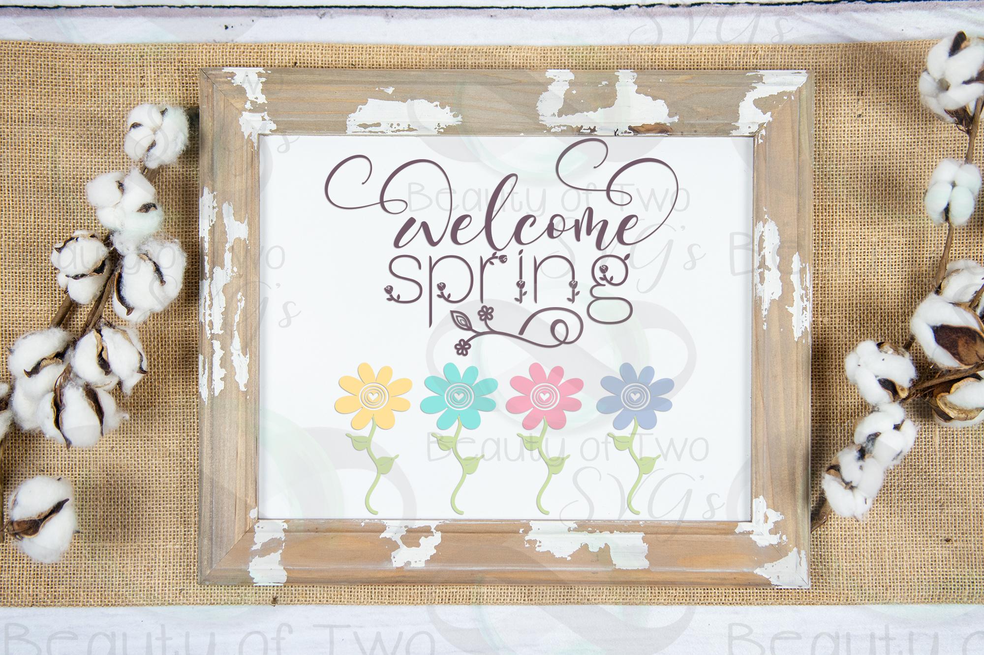 Welcome Spring Flowers svg, Easter Flowers svg, Spring svg example image 2