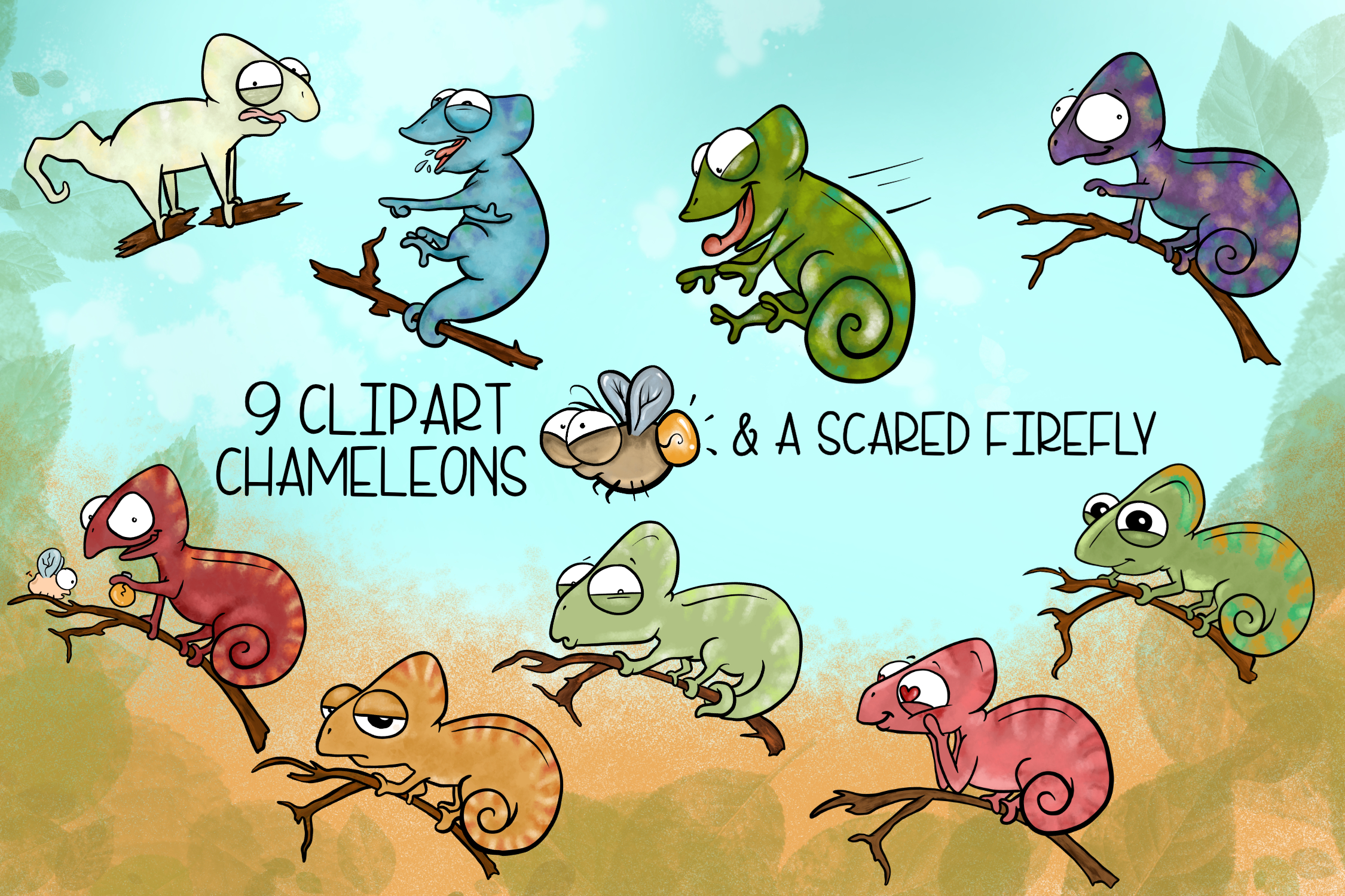 Cute & Crazy Chameleons  Cute Chameleon Clipart   Reptile Cl example image 2
