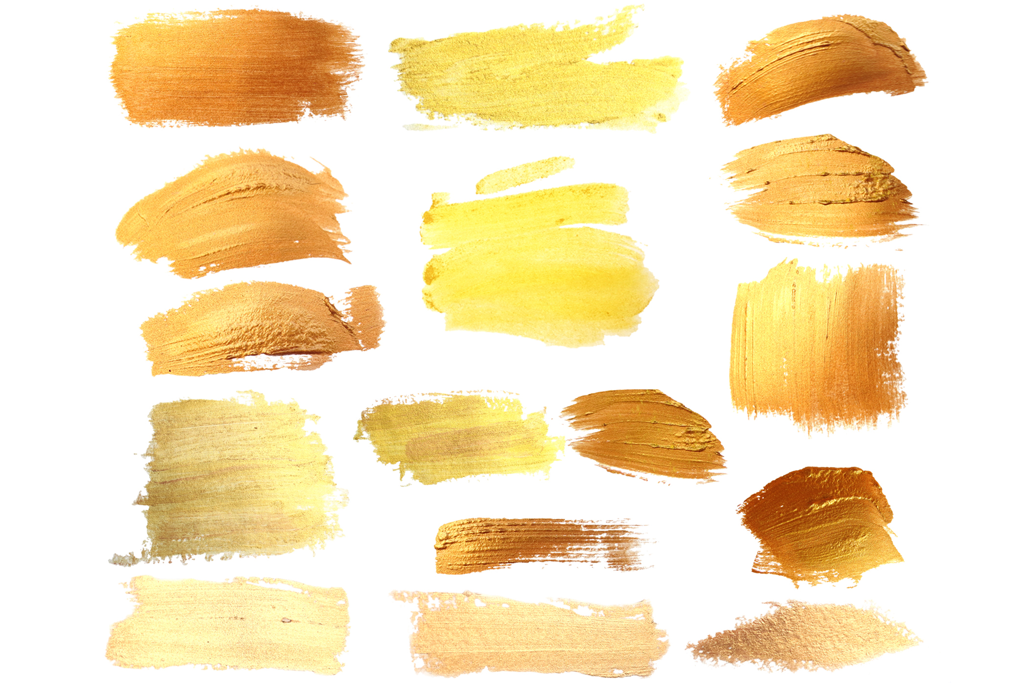 Set 16 Gold Paint Strokes example image 2