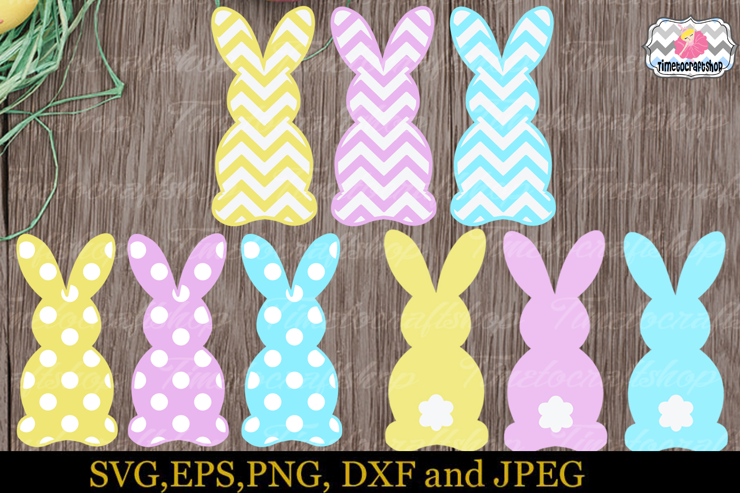 SVG, Eps, Dxf & Png Cutting Files For Easter Bunny example image 1