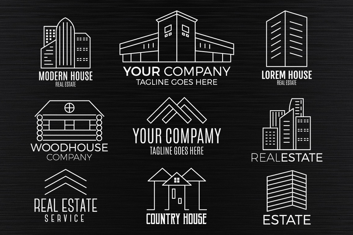 Real Estate Logo Set. LineArt example image 8