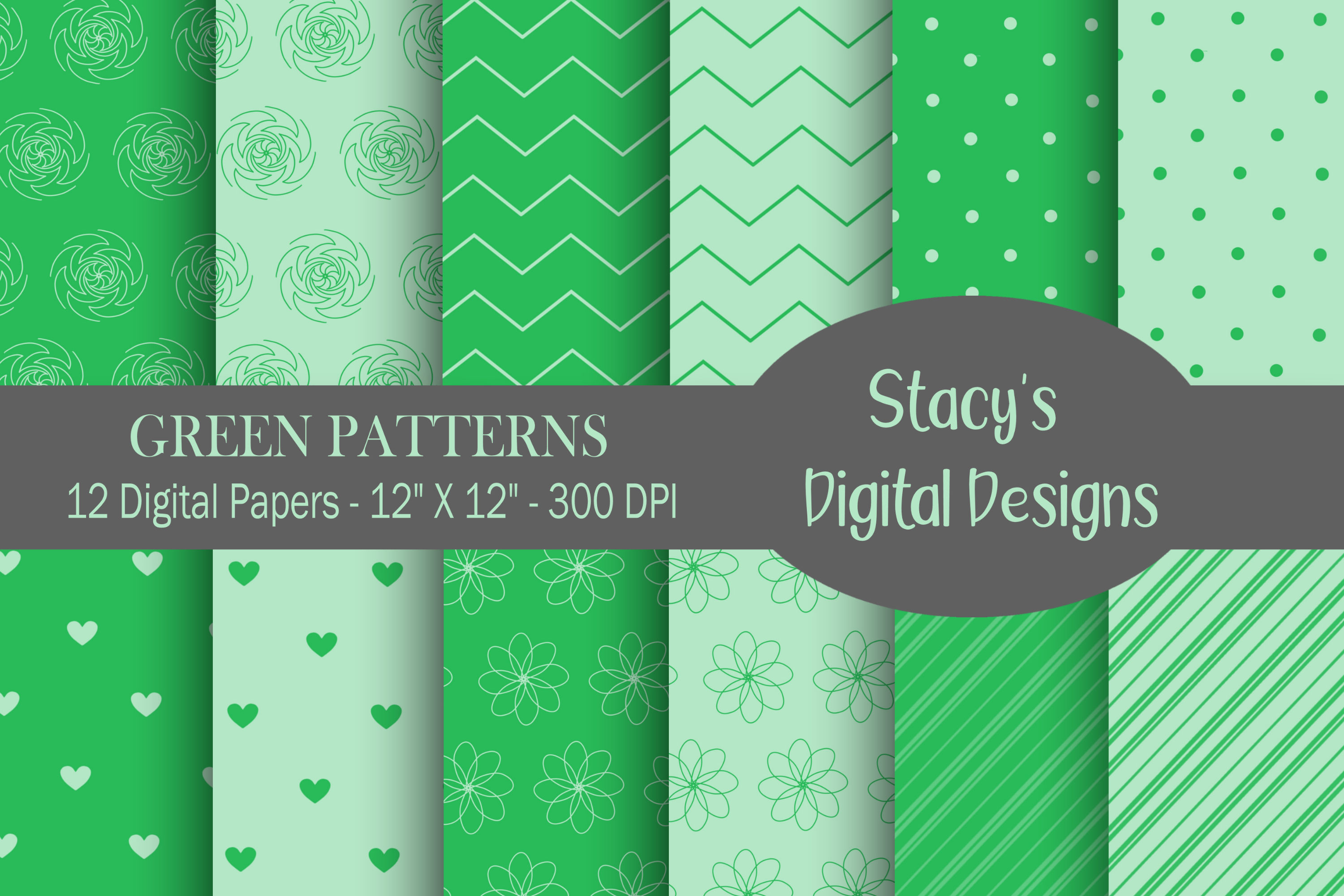 Green Patterns - 12 Digital Papers example image 1