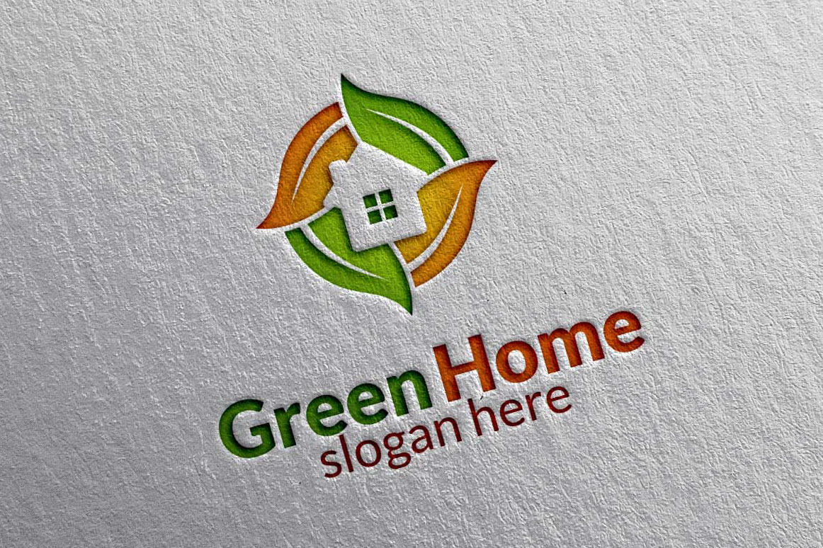 Real estate Logo, Green Home Logo 3 example image 1
