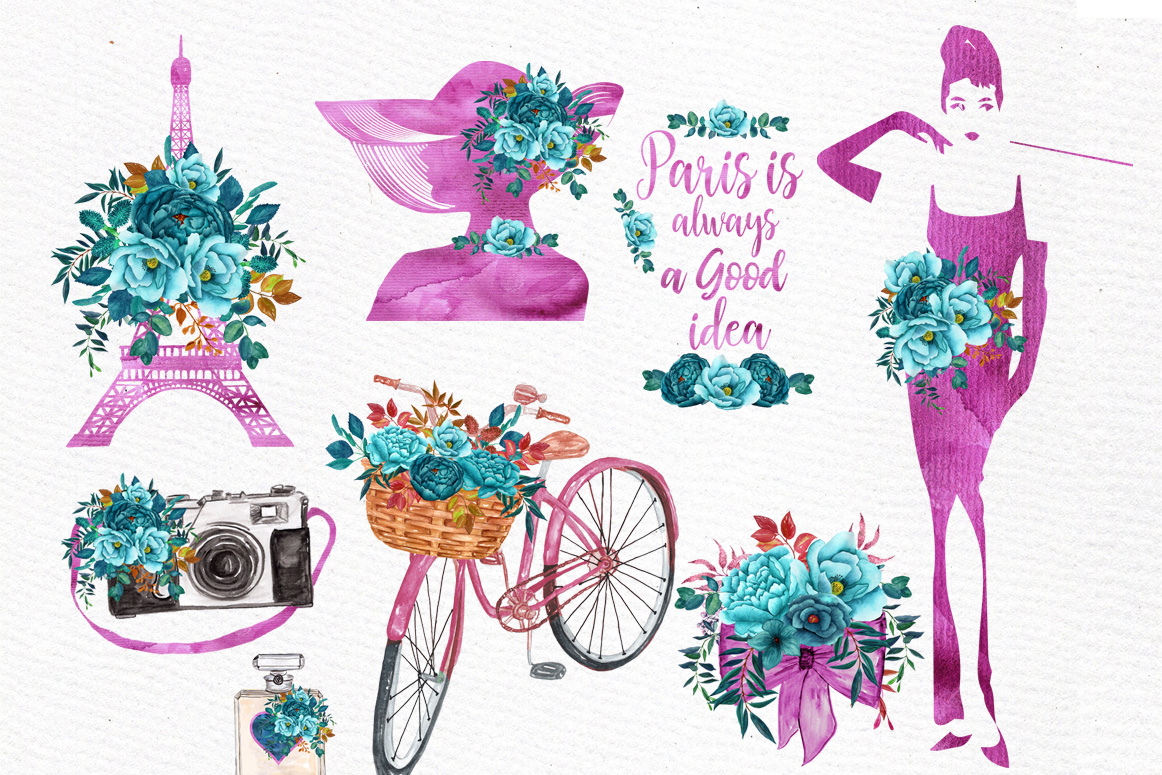 Paris Watercolor clipart WATERCOLOR FLOWERS Eiffel tower  example image 2