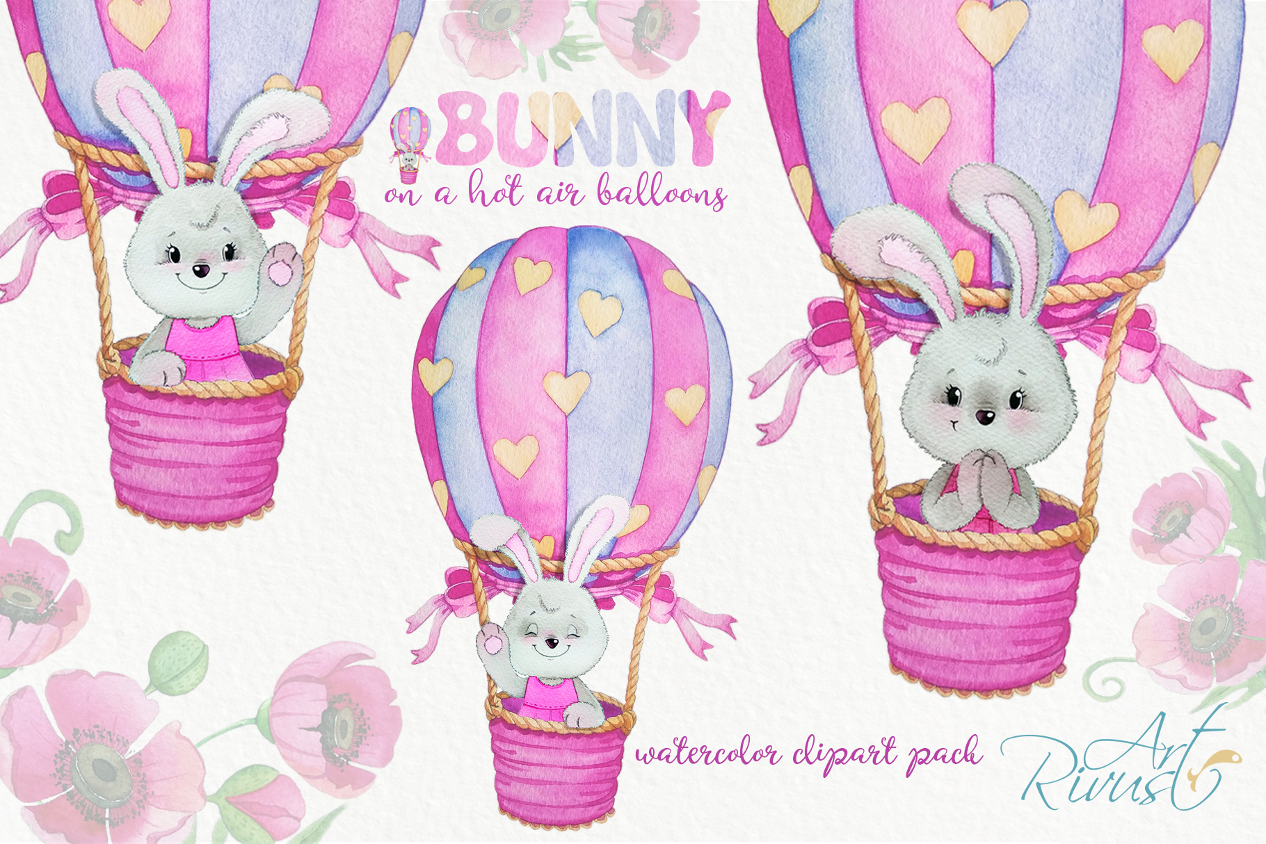 Clipart set watercolor bears with seagull hot air balloons example image 2