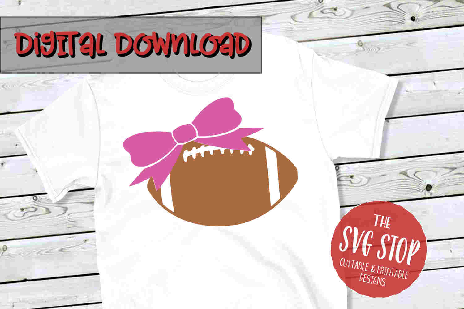 Football Bow -SVG, PNG, DXF example image 1