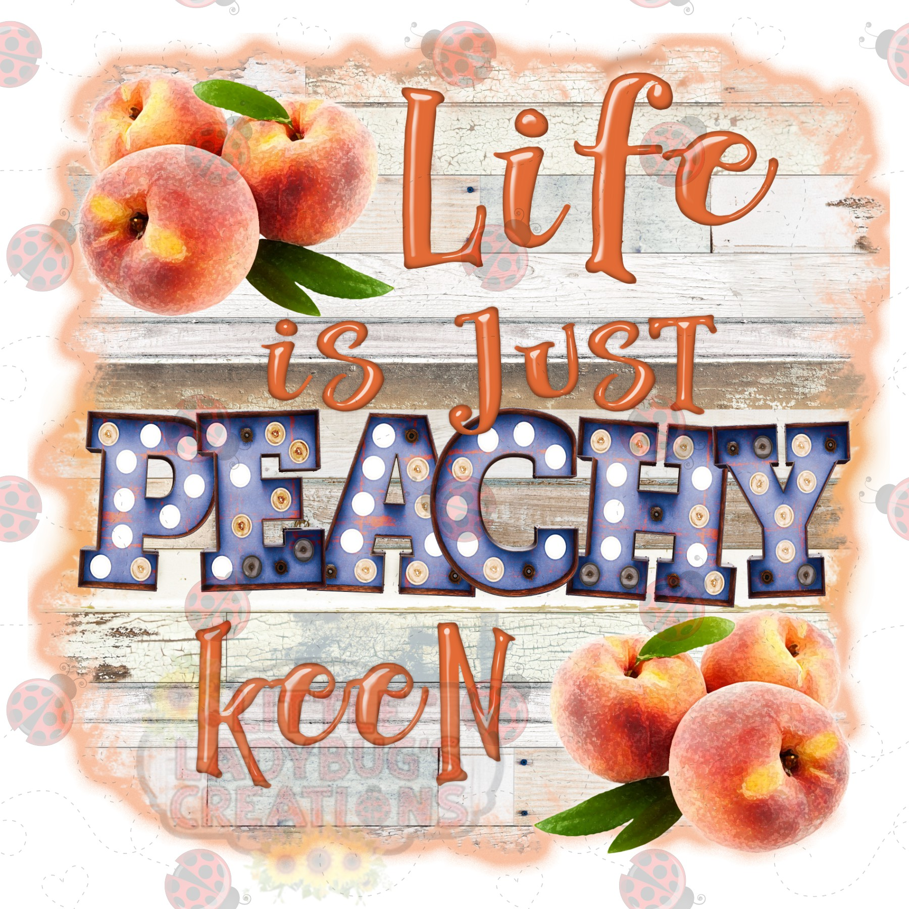 Life is Just Peachy Keen 300DPI PNG Printable Digital Design example image 5