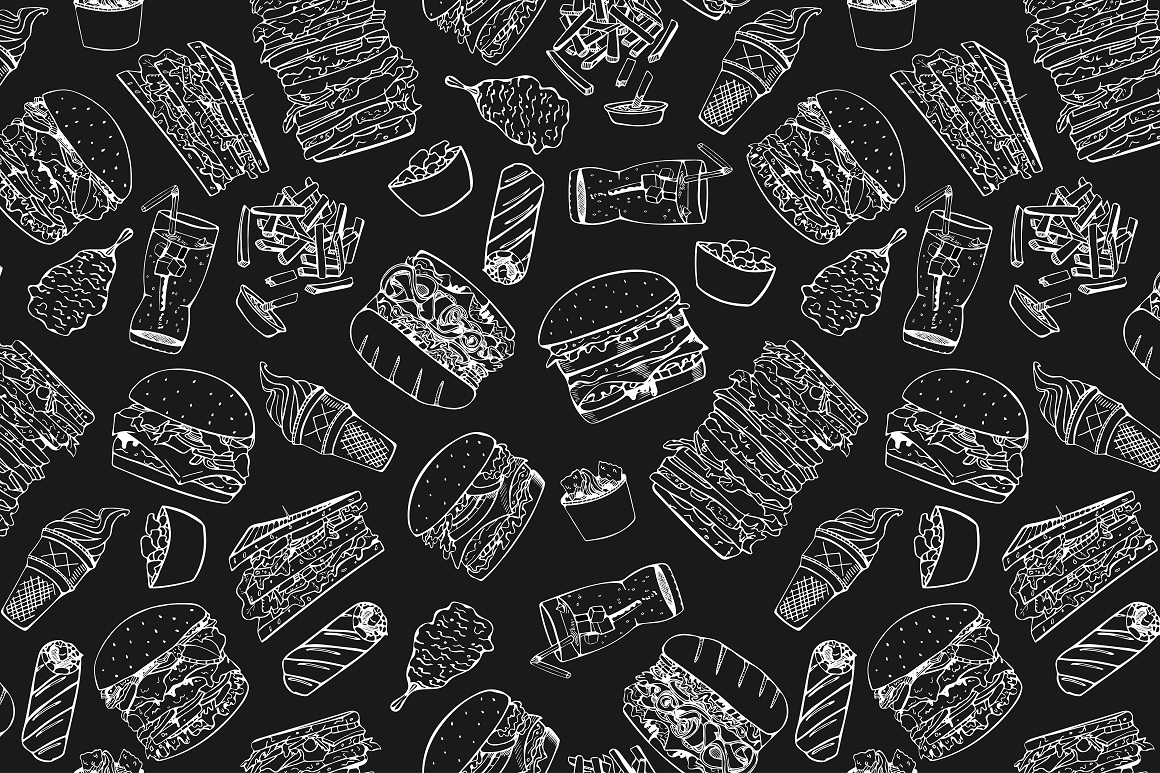Fast food set. + Seamless patterns example image 3
