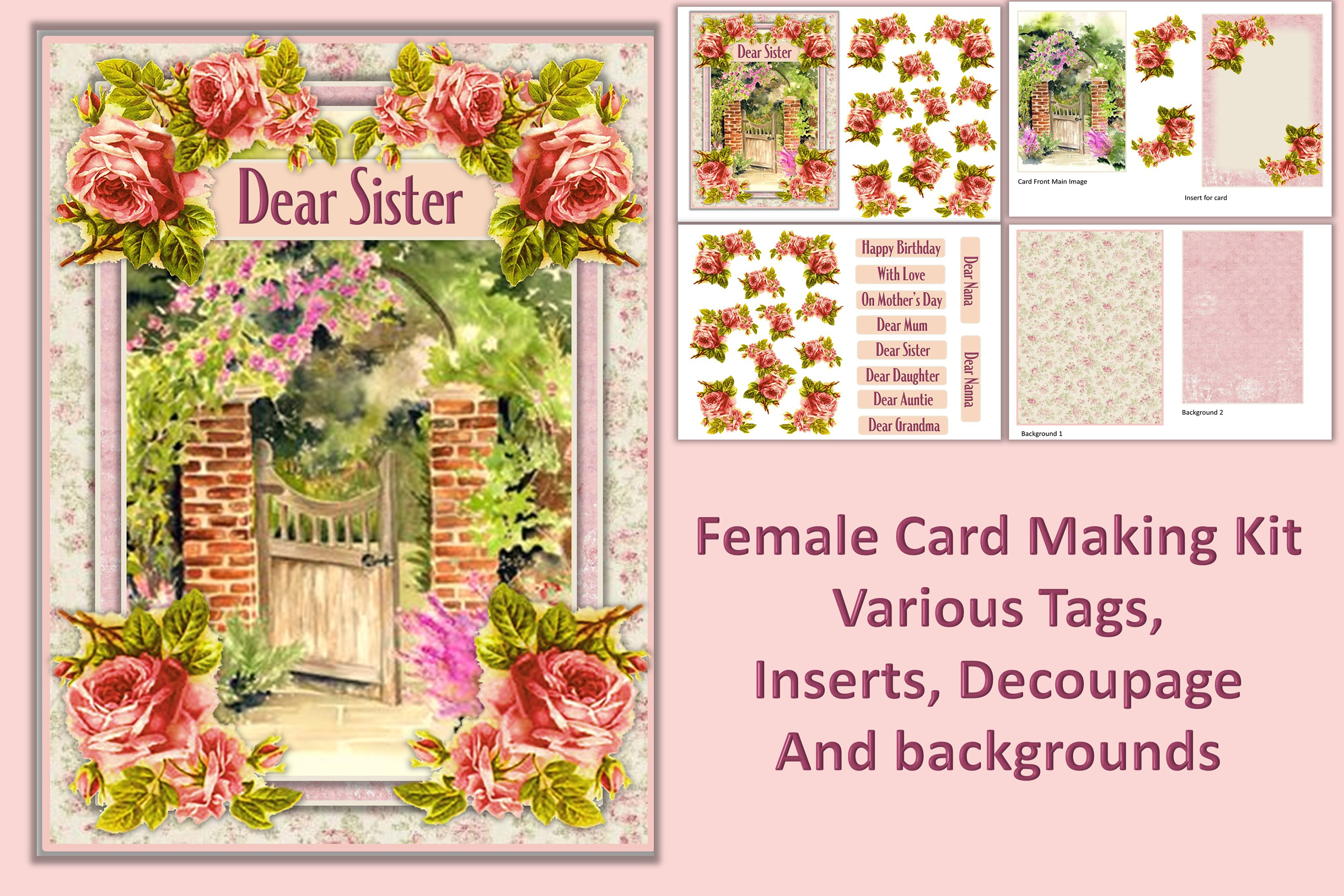 Card Making Kit Set of 4 Watercolour Garden JPEG, PDF & PNG example image 3