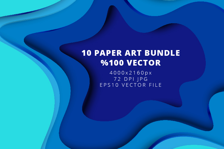 10 Paper Art Design Bundle - Backgrounds - Jpg and Vector example image 2