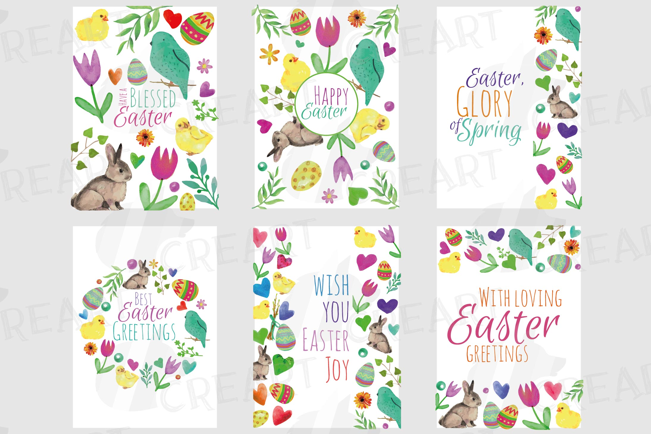 Easter greeting cards, 6 Happy Easter cards, colorful cards example image 2