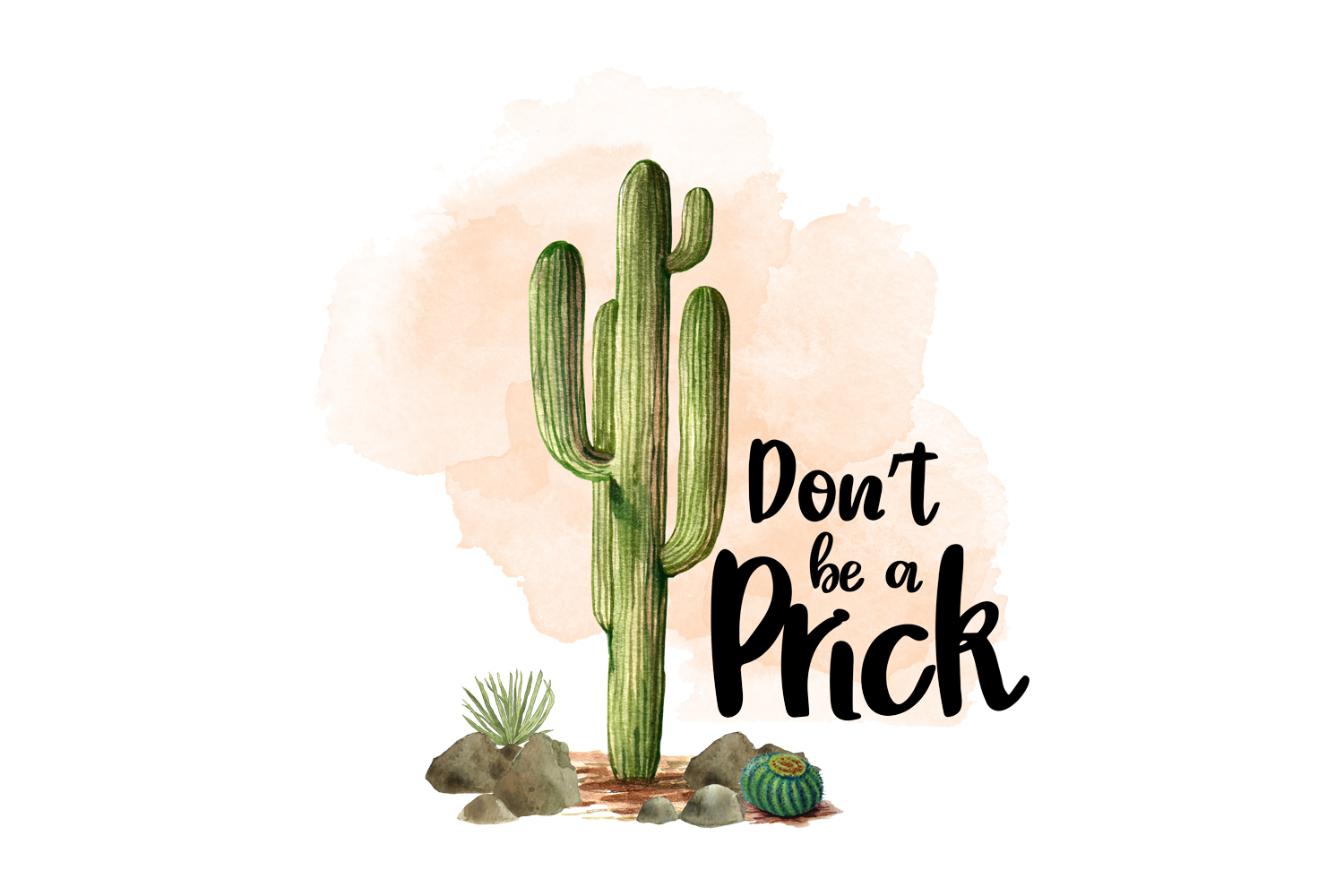 Don't be a Prick, Watercolor Clipart, Sublimation File example image 1