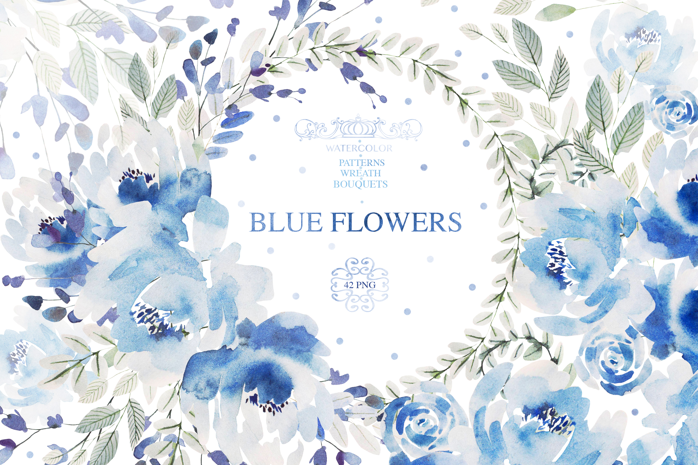 Watercolor BLUE FLOWERS example image 1