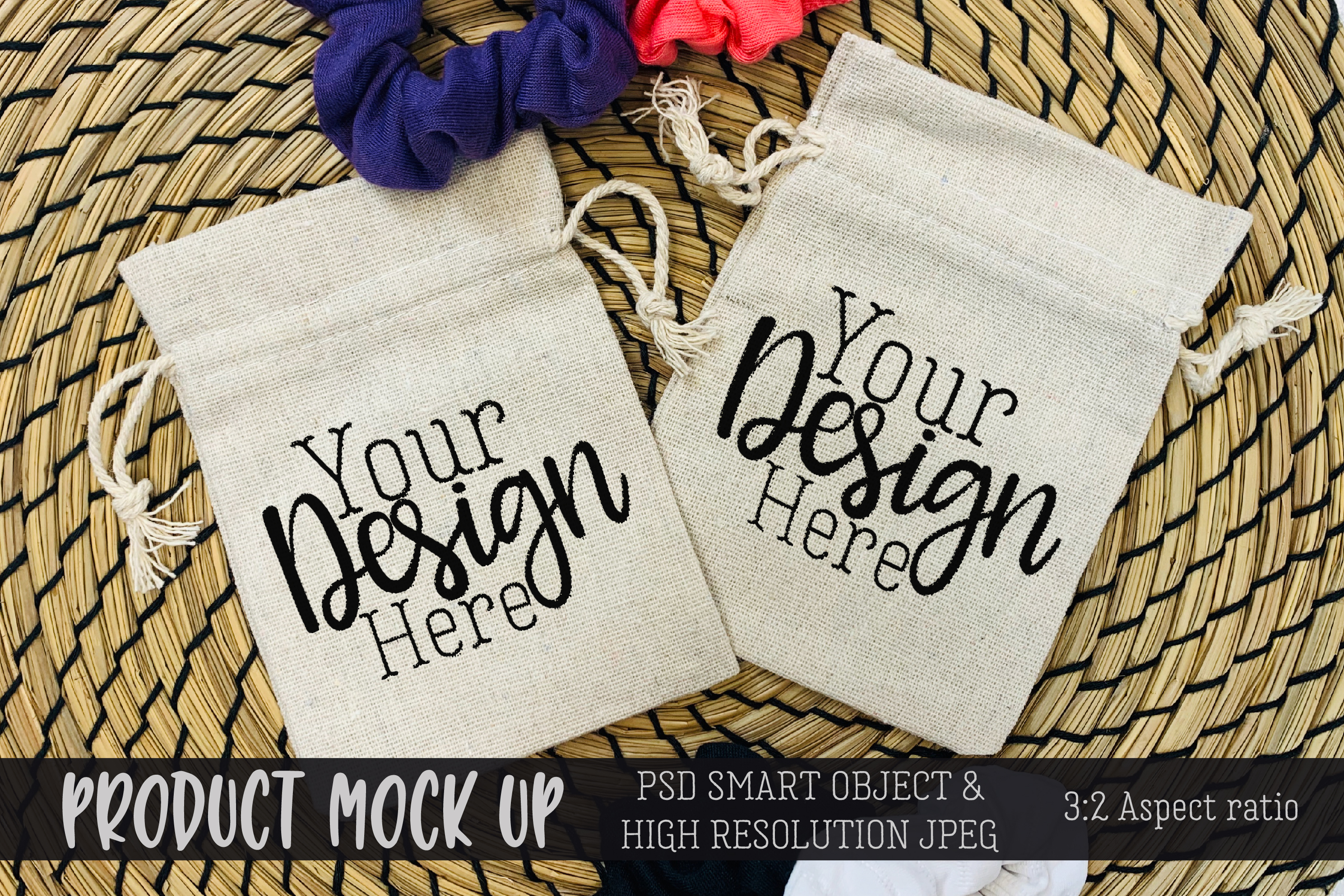 Drawstring bags Craft mock up | PSD & JPEG example image 1