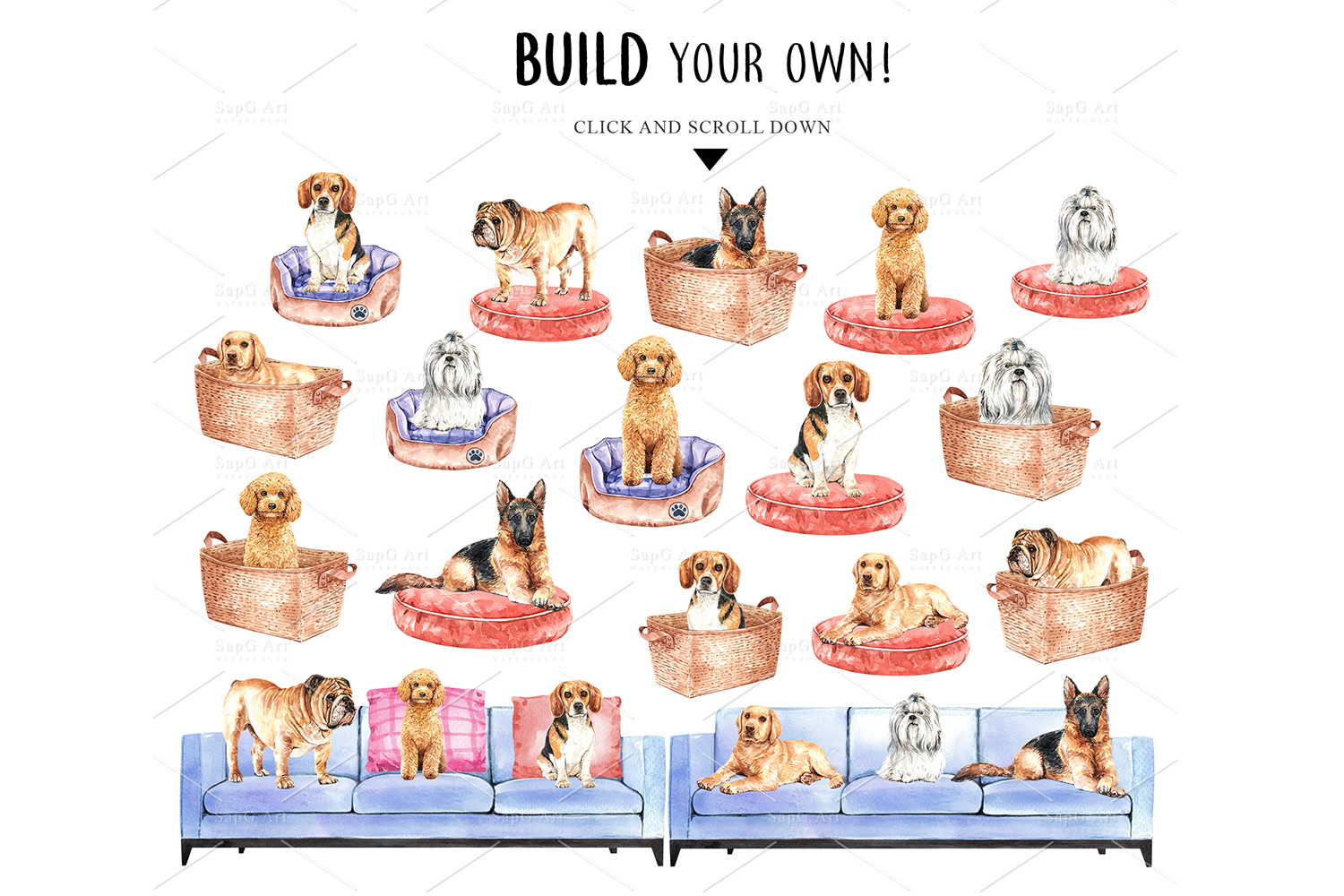 Dog watercolor clipart, Pet clip arts, Dog Set F example image 5
