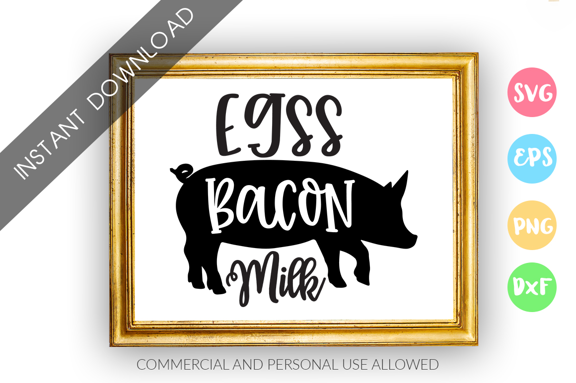 Egss bacon milk SVG Design example image 1