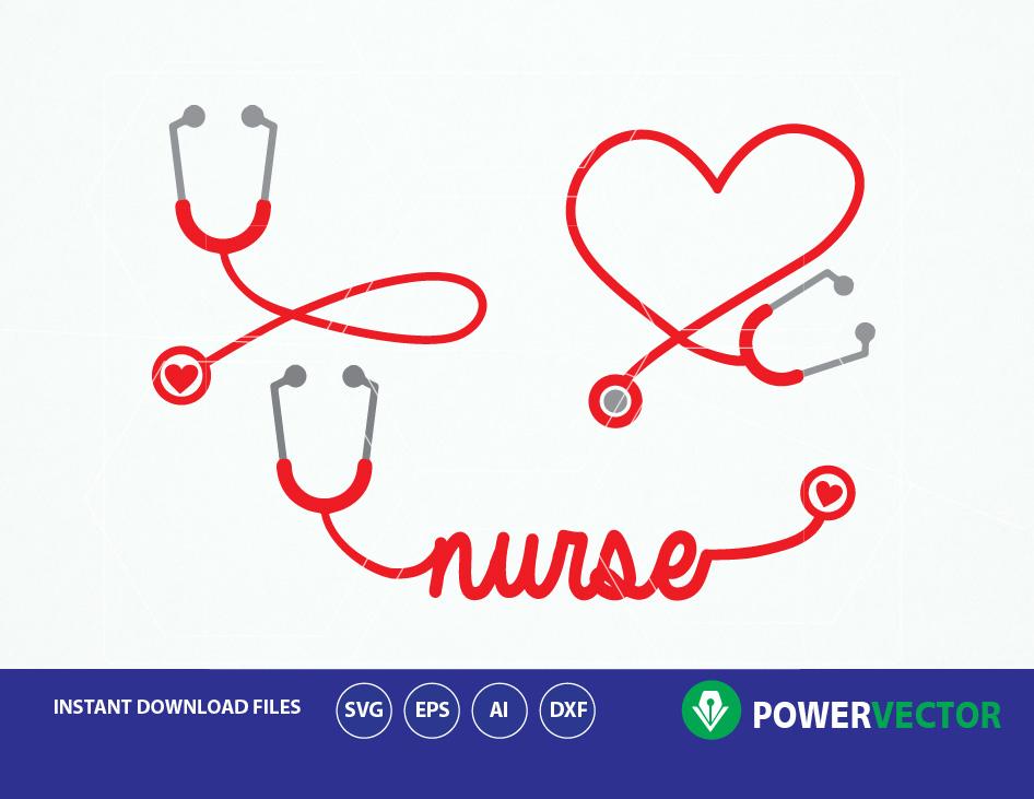 Stethoscope heart. Svg nurse word art