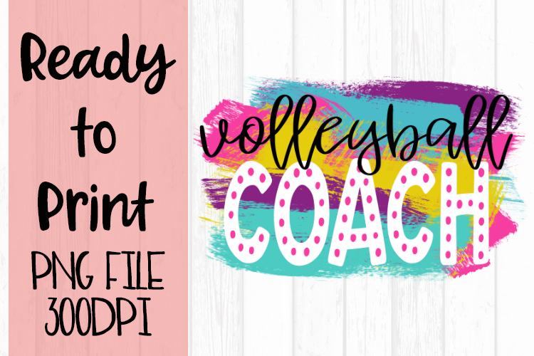 Volleyball Coach Bright Preppy Design Ready to Print example image 1