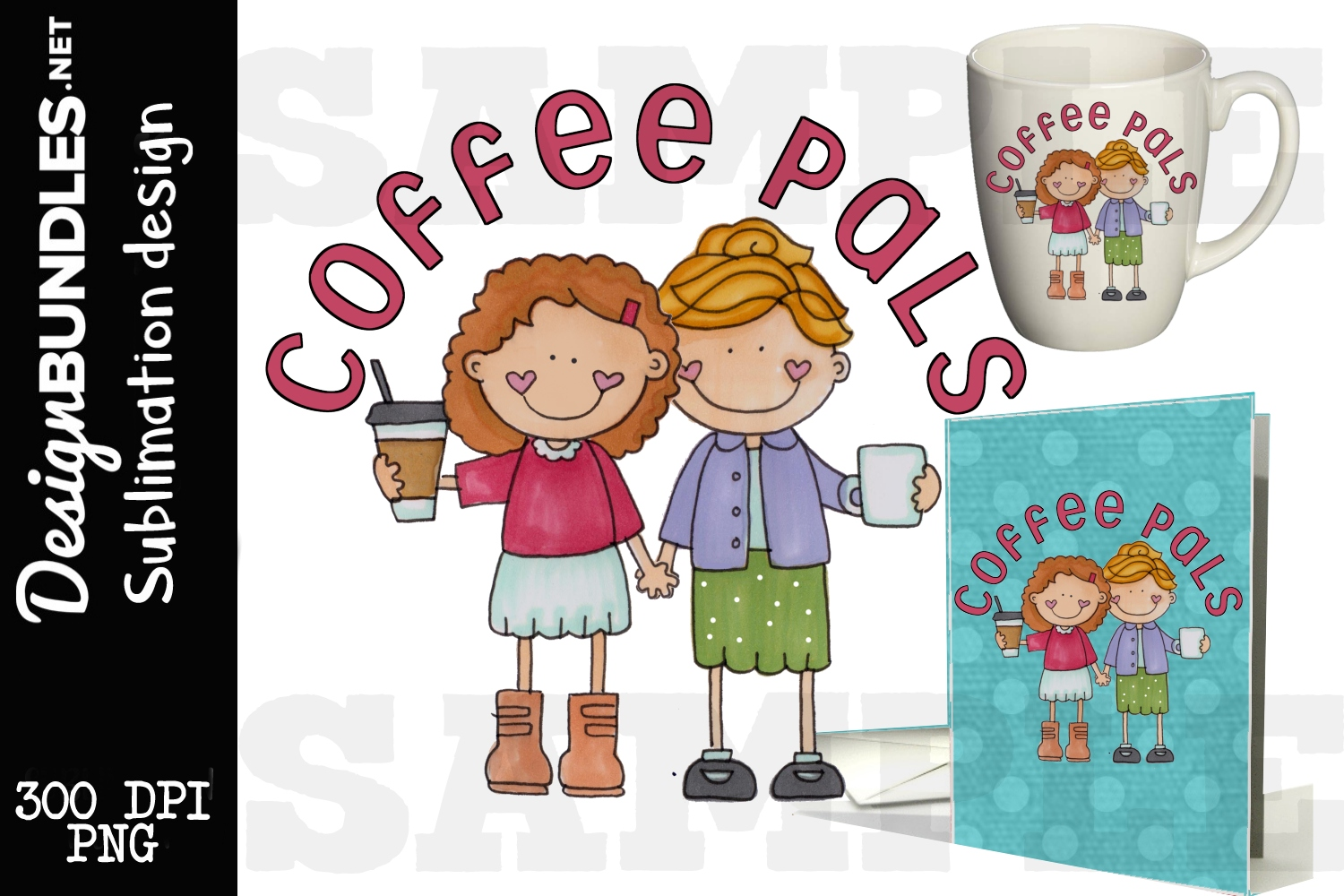 Coffee Pals Sublimation Design example image 1