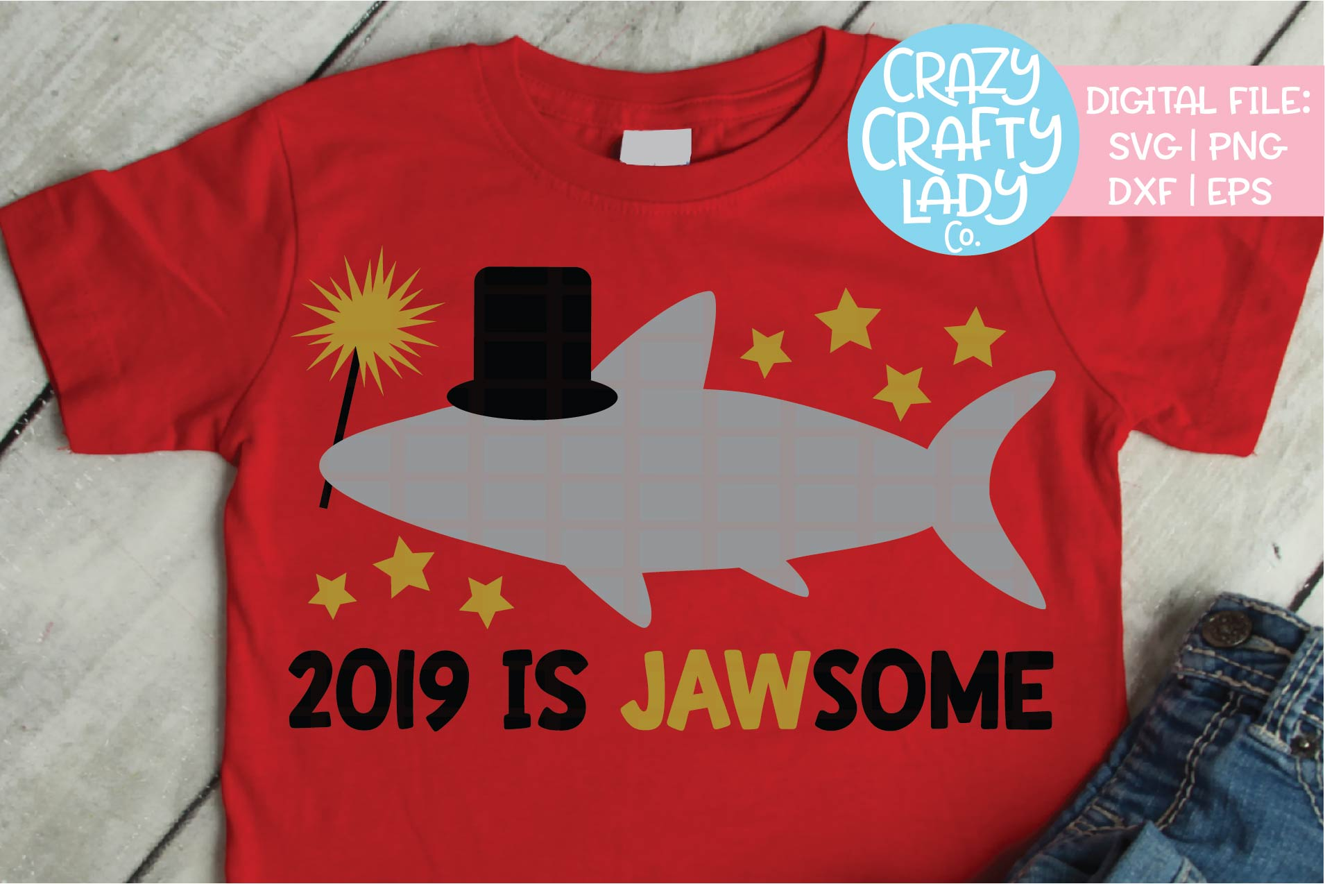 New Year's Shark SVG DXF EPS PNG Cut File example image 1