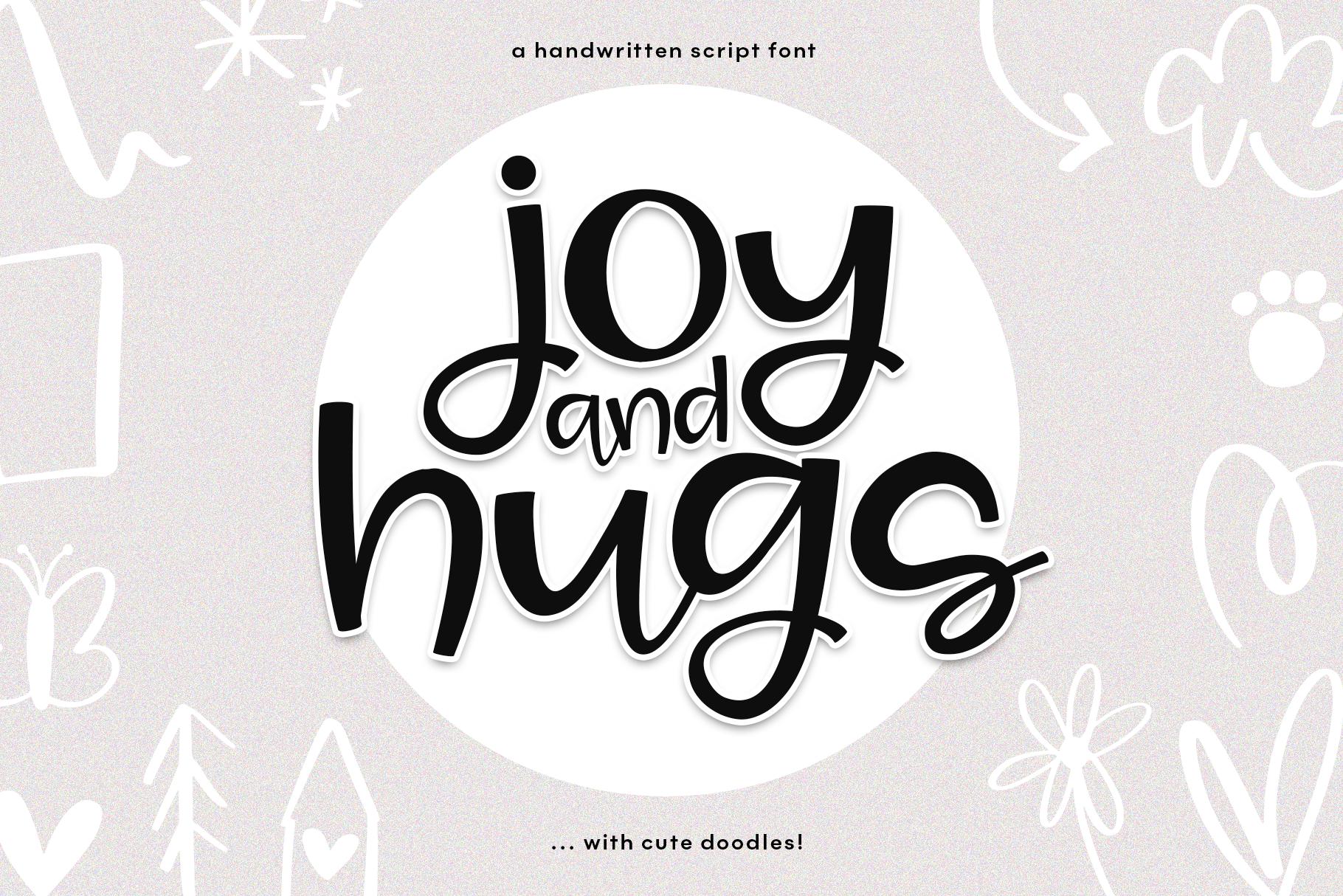 Joy & Hugs Handwritten Script Font - with doodle extras! example image 1