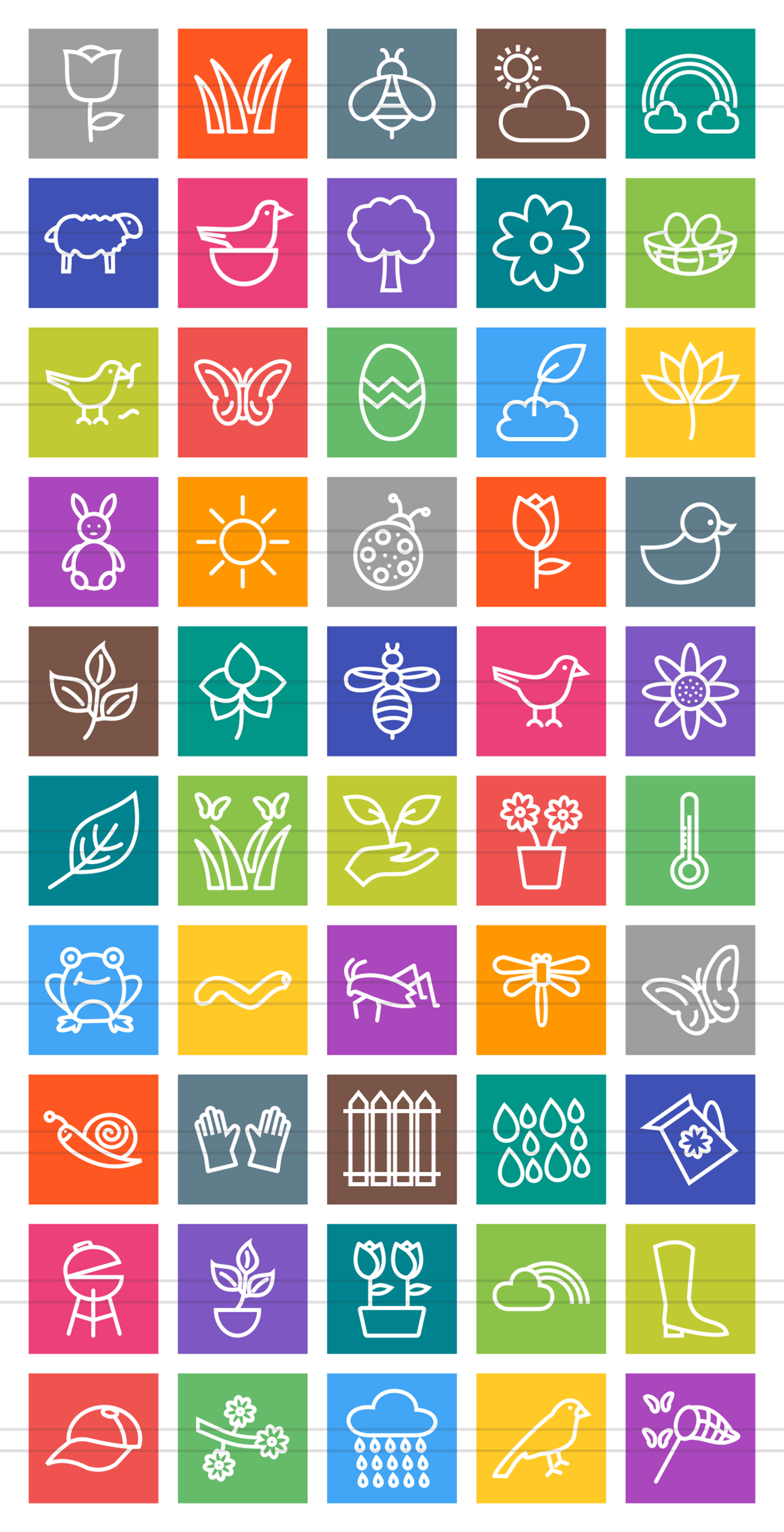50 Spring Line Multicolor B/G Icons example image 2