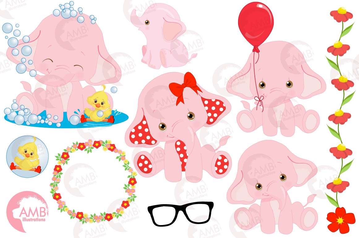 ELEPHANT babies in pink! BUNDLE! 53 cliparts, graphics and illustrations and Patterns AMB-2276 example image 12