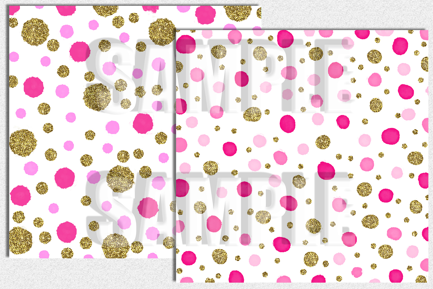 Confetti Digital Paper, Pink and Gold, Digital Background example image 2