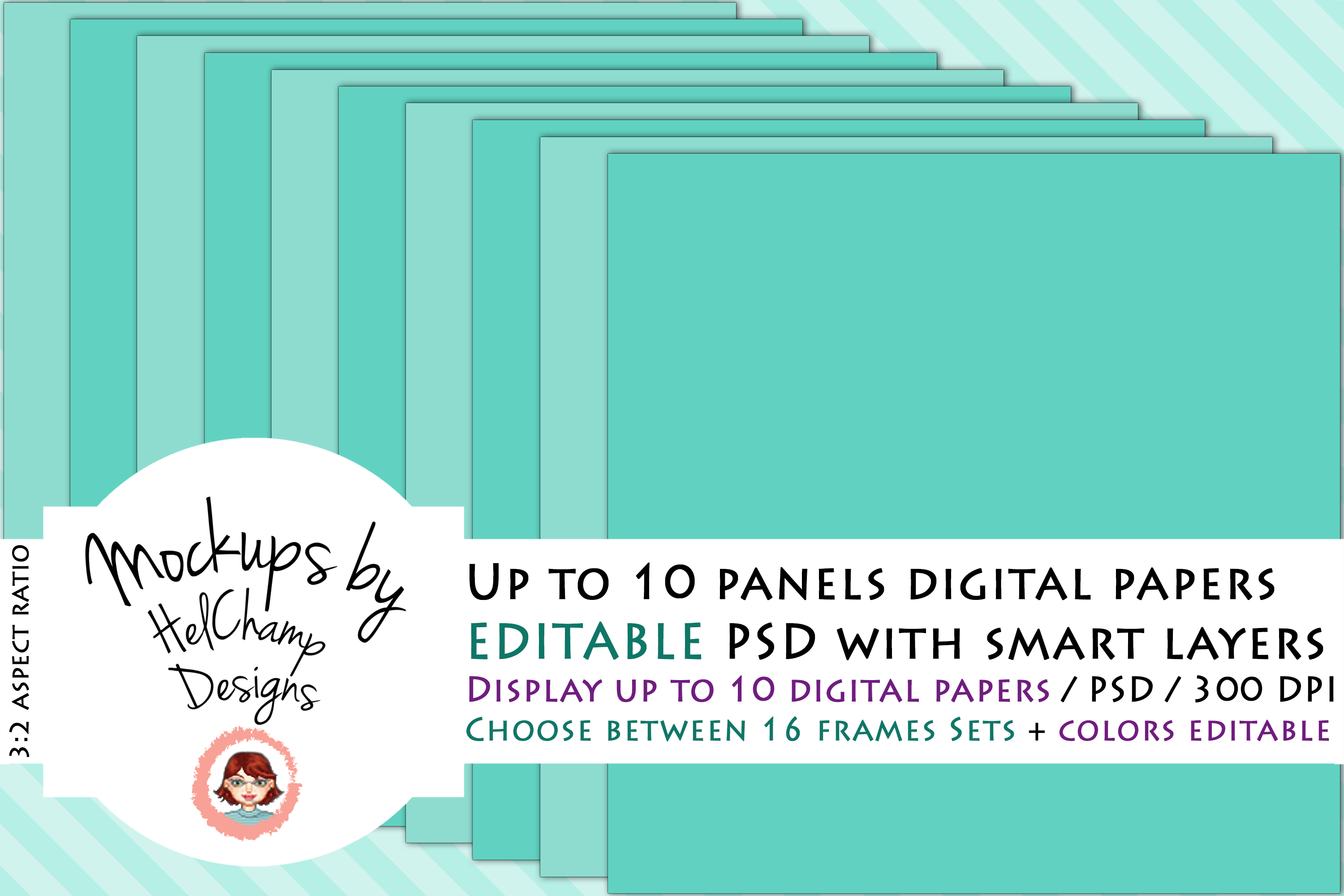 1 to 10 Panels Mockup for Digital Papers - M04 example image 1