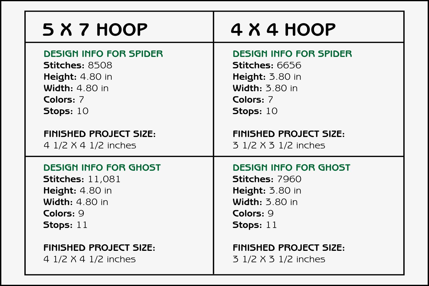 Spider & Ghost Coasters - 4 x 4 and 5 x 7 Hoops example image 3