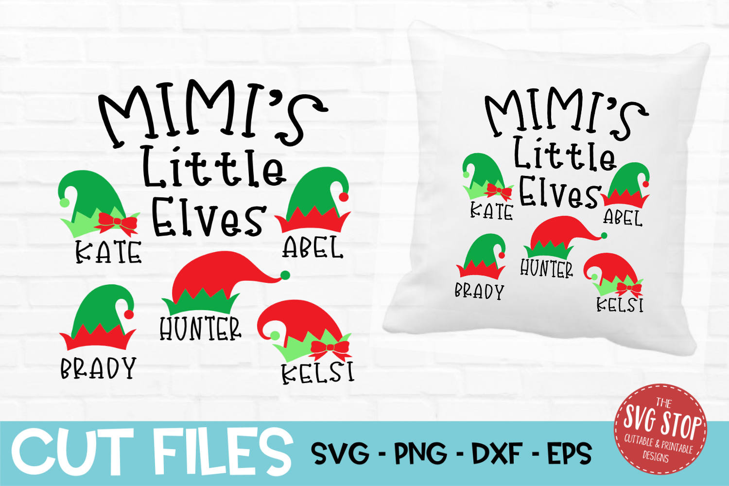 Mimi Little Elves Christmas SVG, PNG, DXF, EPS example image 1