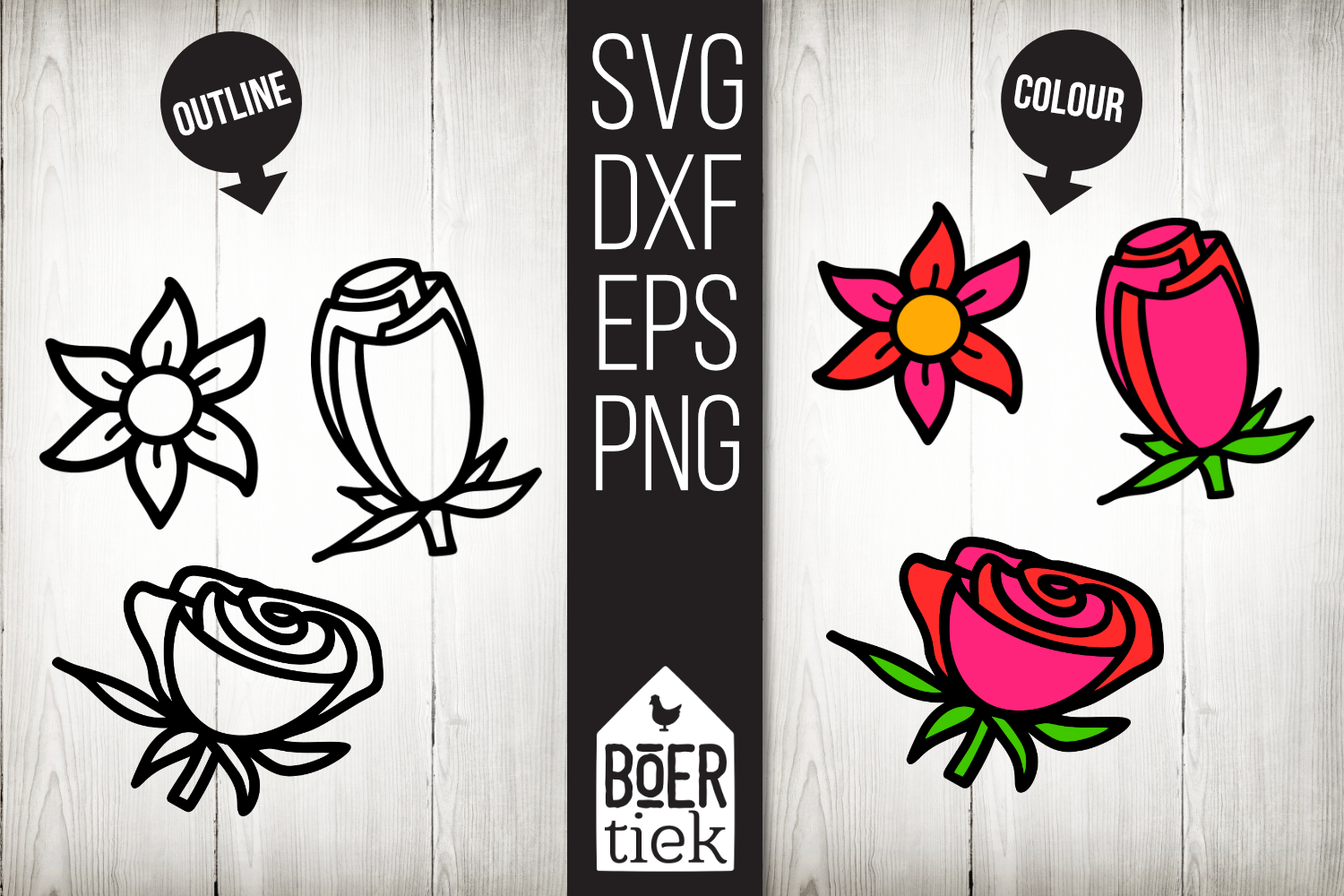 Flowers, hand drawn, cutting files example image 1