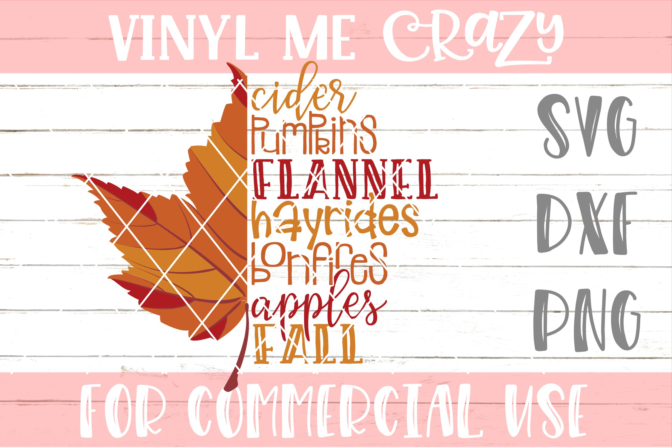 Fall Leaves Checklist SVG DXF PNG example image 1