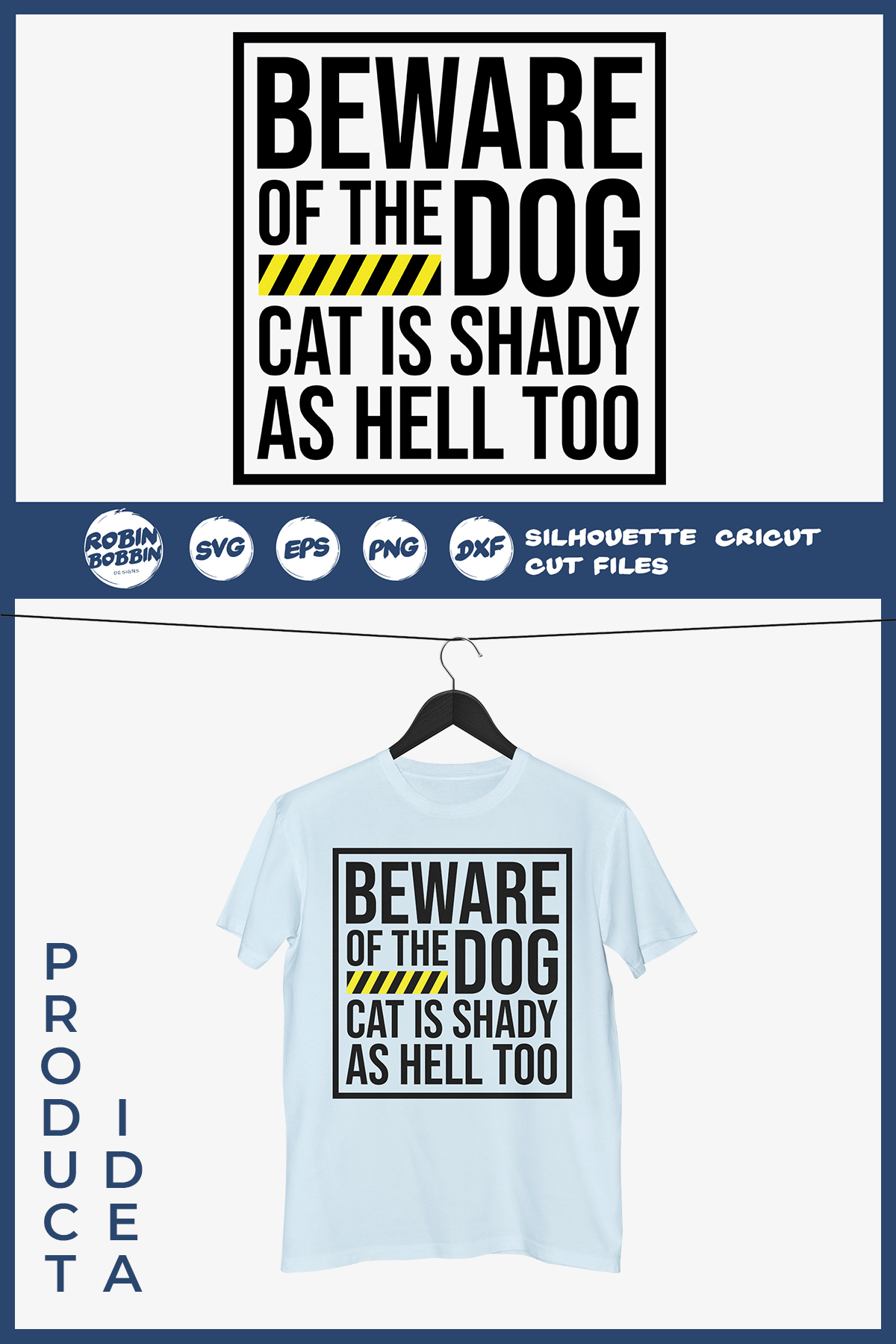 Beware Of Dog Cat is Shady As Hell Too - Dog Lover SVG File example image 2