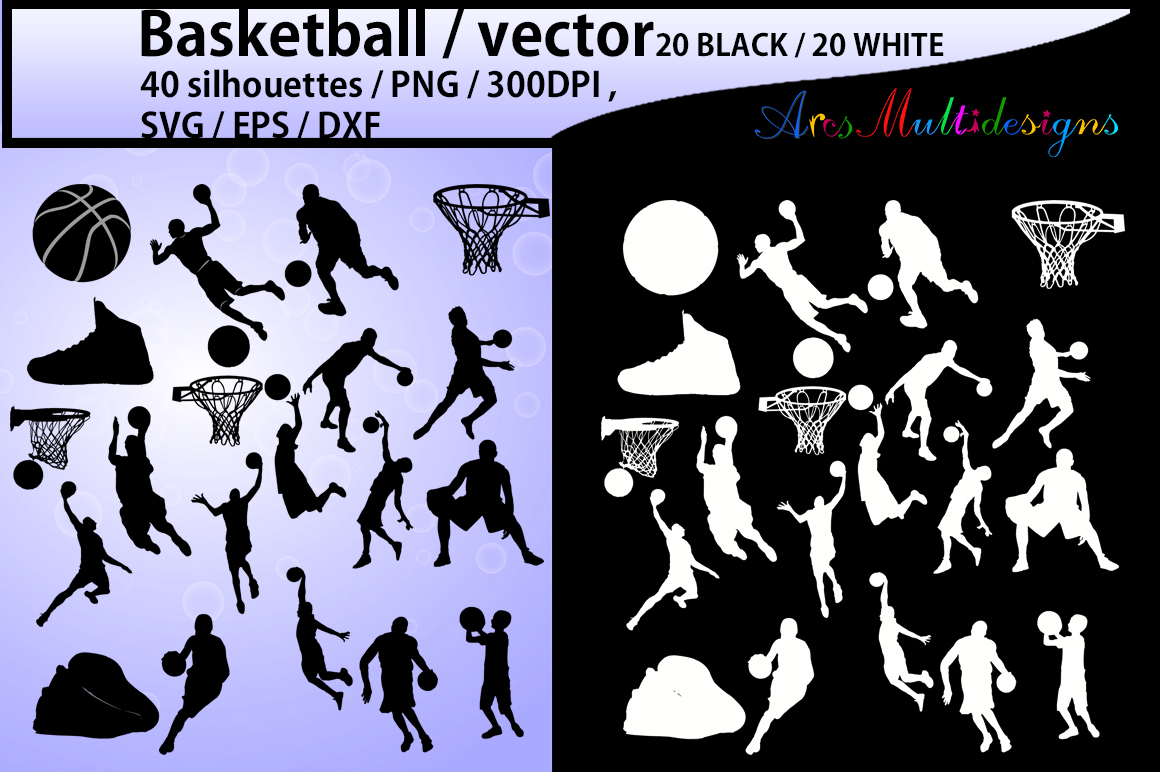 basketball svg / basketball silhouette / basketball players silhouette / HQ / baseketball SVG file / vector basketball / Eps / Dxf / Png example image 1