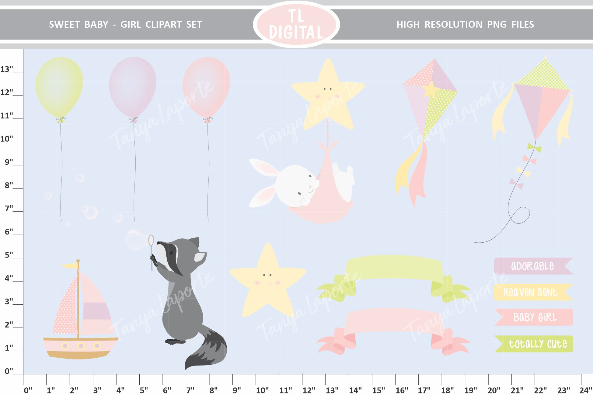 Sweet Baby Girl Clipart Set - 26 Baby themed Graphics example image 3