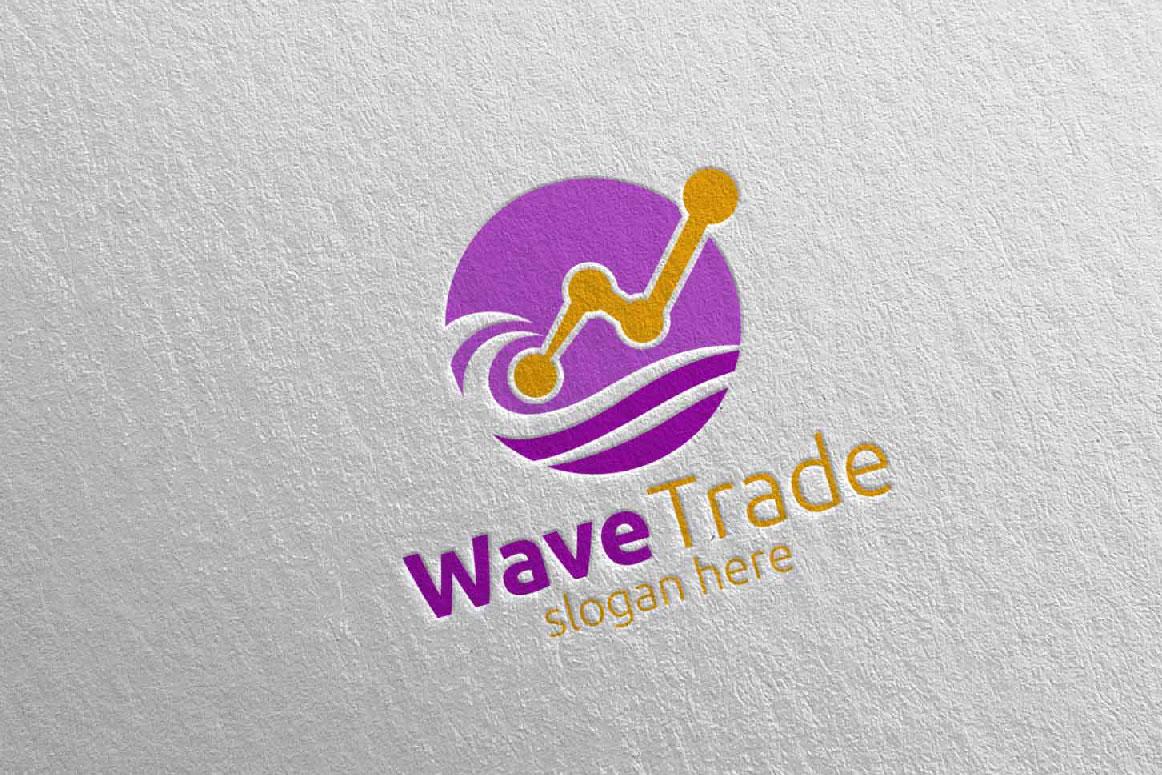 Wave Trade Marketing Financial Advisor Logo Design 26 example image 4