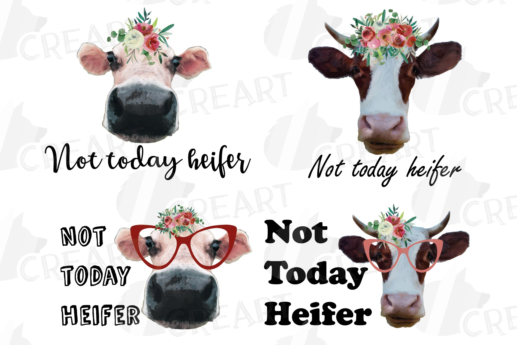 Cows with floral crown clip art. Not today heifer graphic example image 1