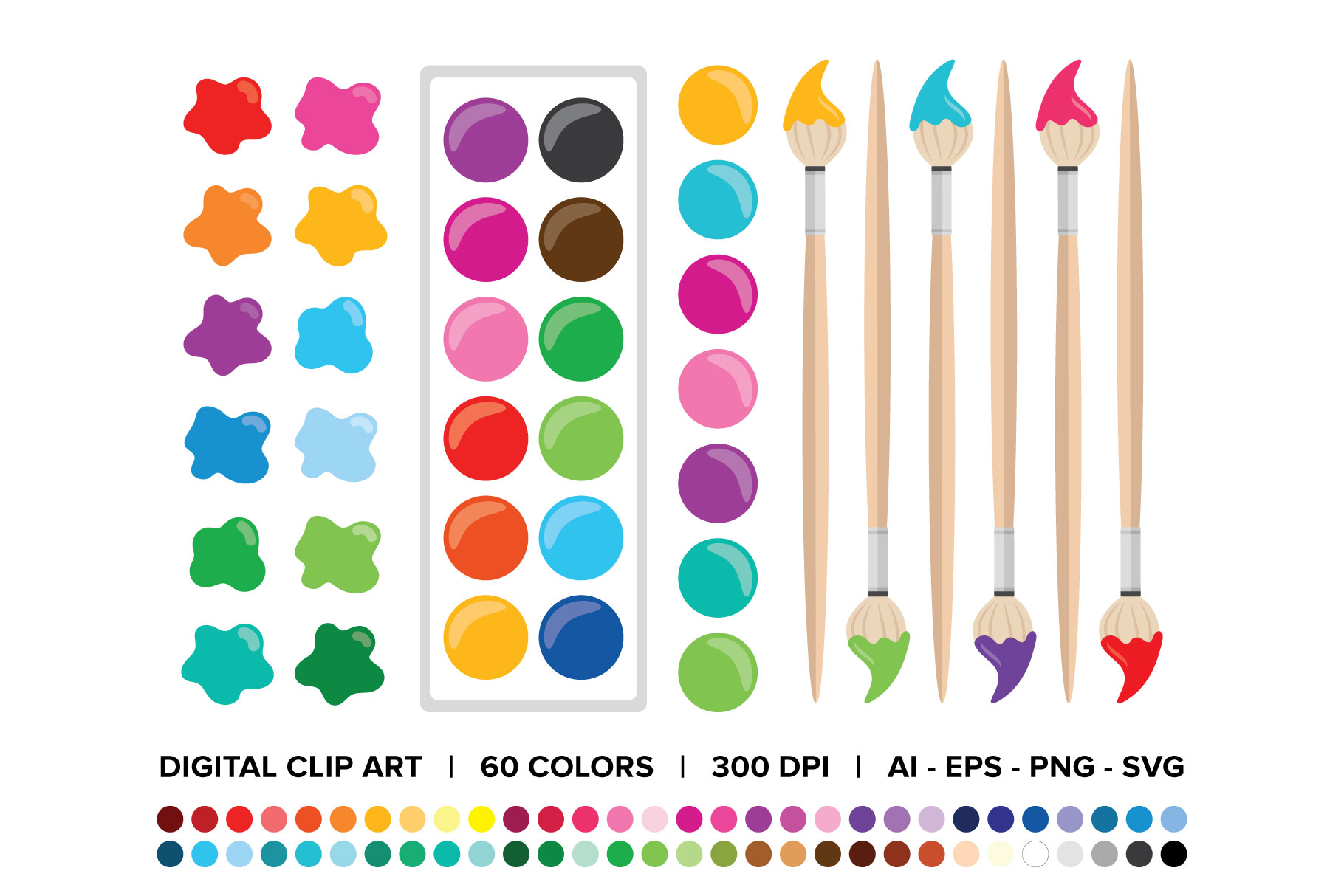 Paint Brush & Palette Graphic Set example image 2