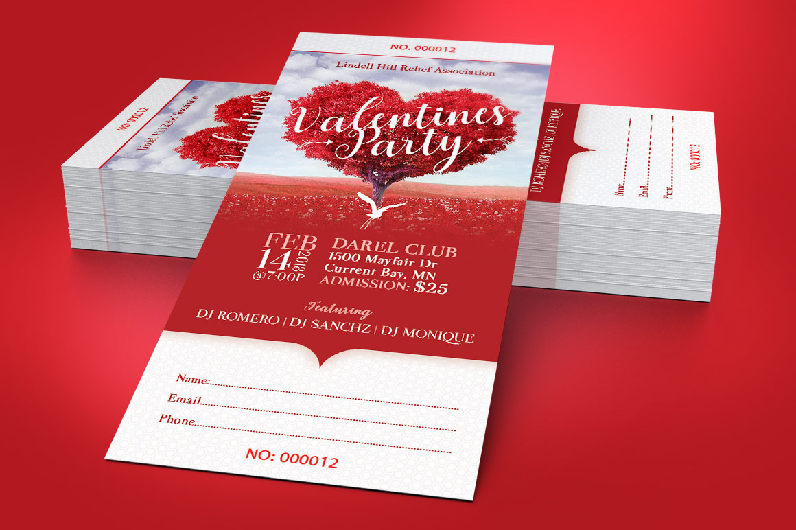Tree Heart Valentines Party Ticket Template example image 4