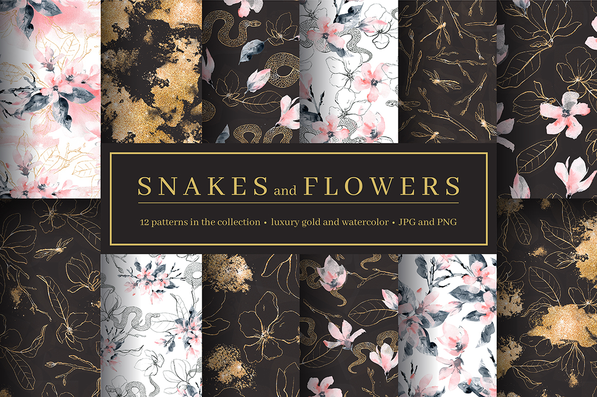 Snakes and Flowers. Pattern collection. example image 1