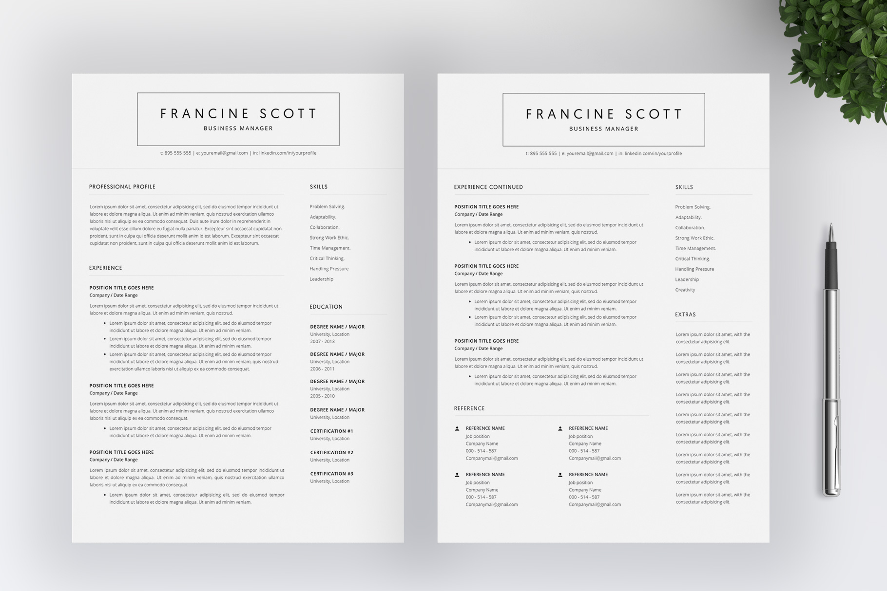 Resume Template and Cover Letter / 4 Pages example image 3