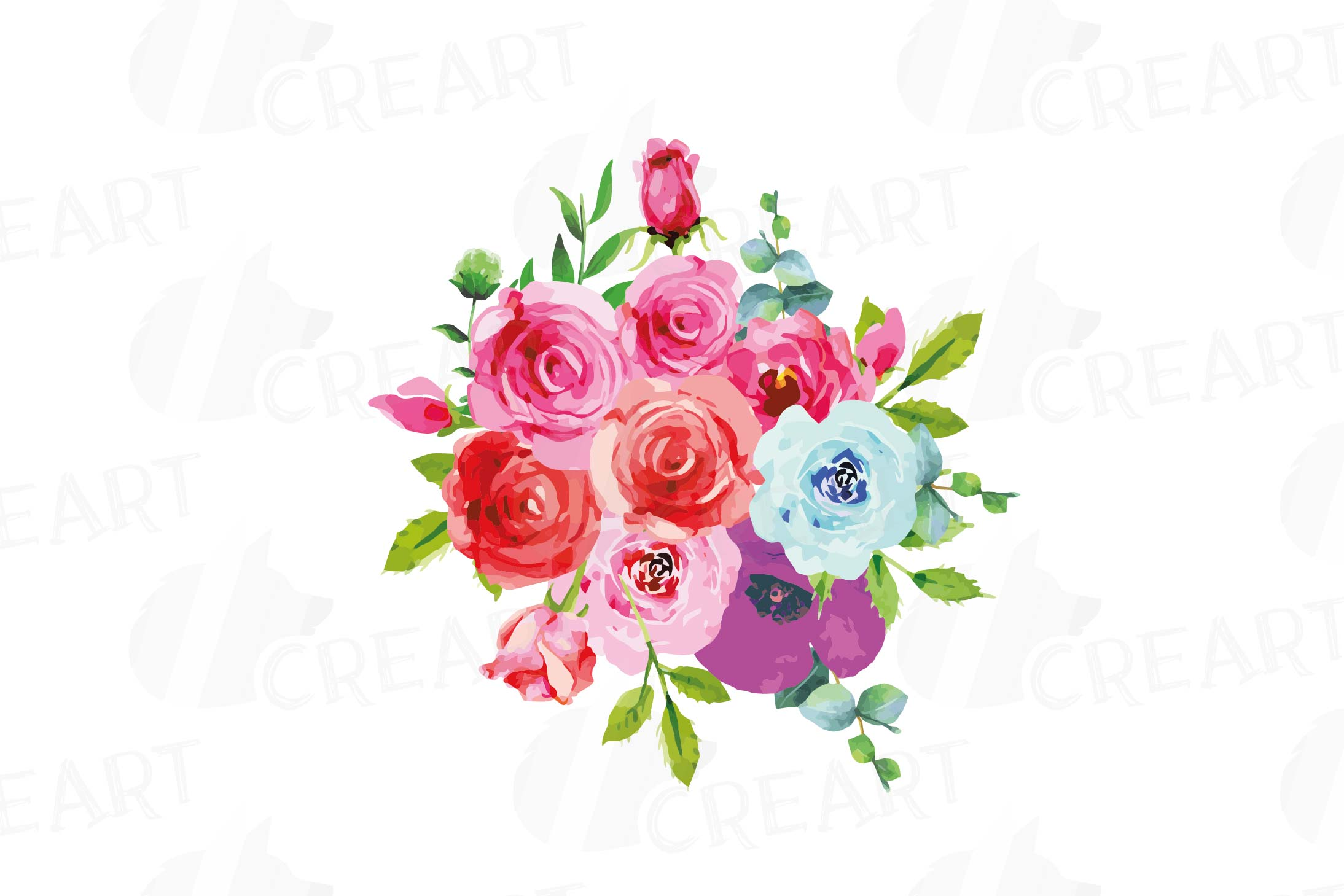 Boho pink and blue watercolor wedding bouquets, floral png example image 6