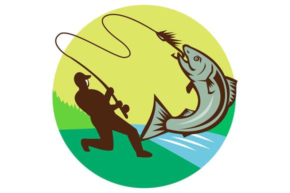 Fly Fisherman Hooking Salmon Circle Rero example image 1
