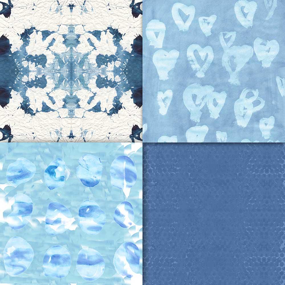 16 Indigo/Shibori Watercolour Papers example image 6