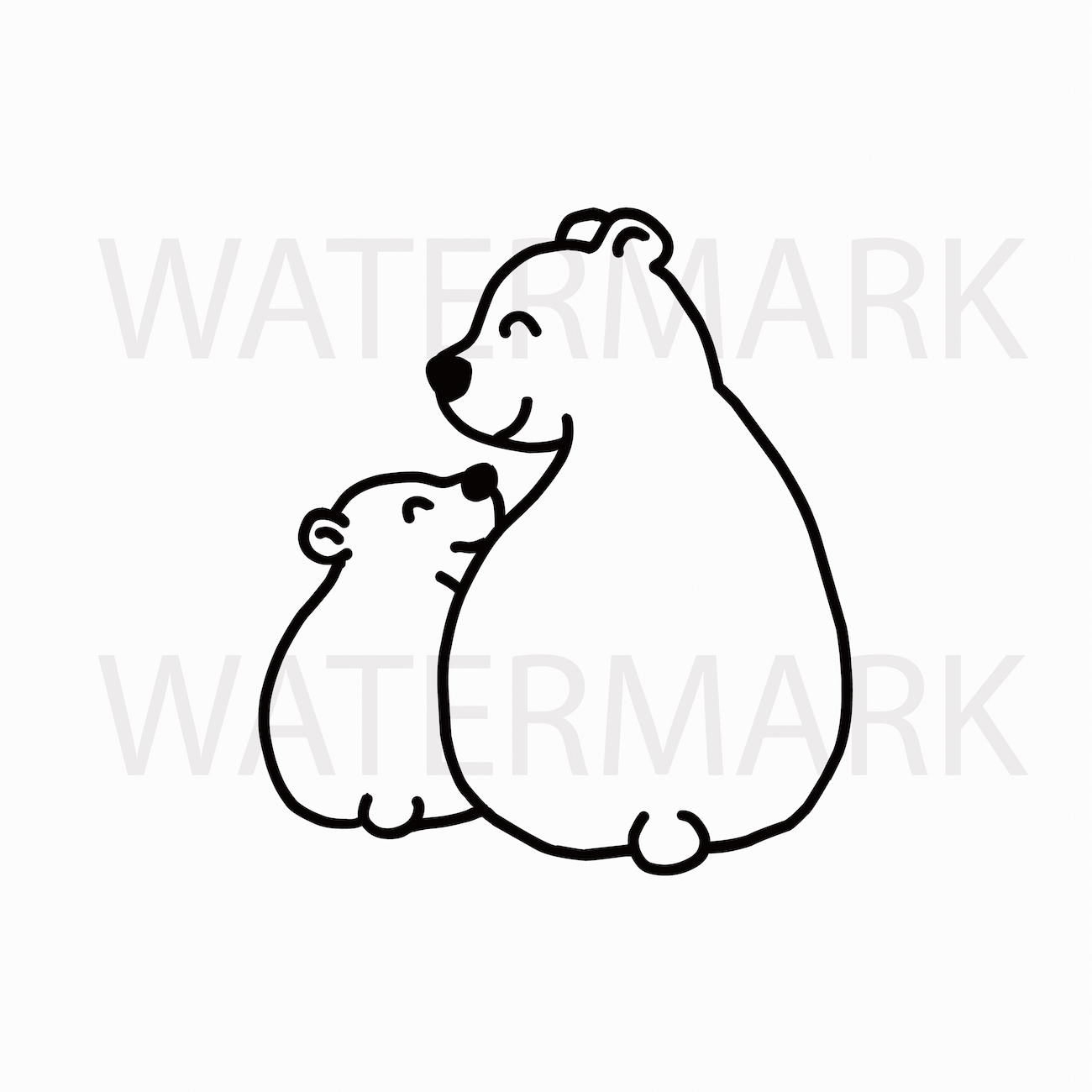 Mama Bear And Bear Cub Sitting And Smiling With Love Svgjpgpng Hand Drawing