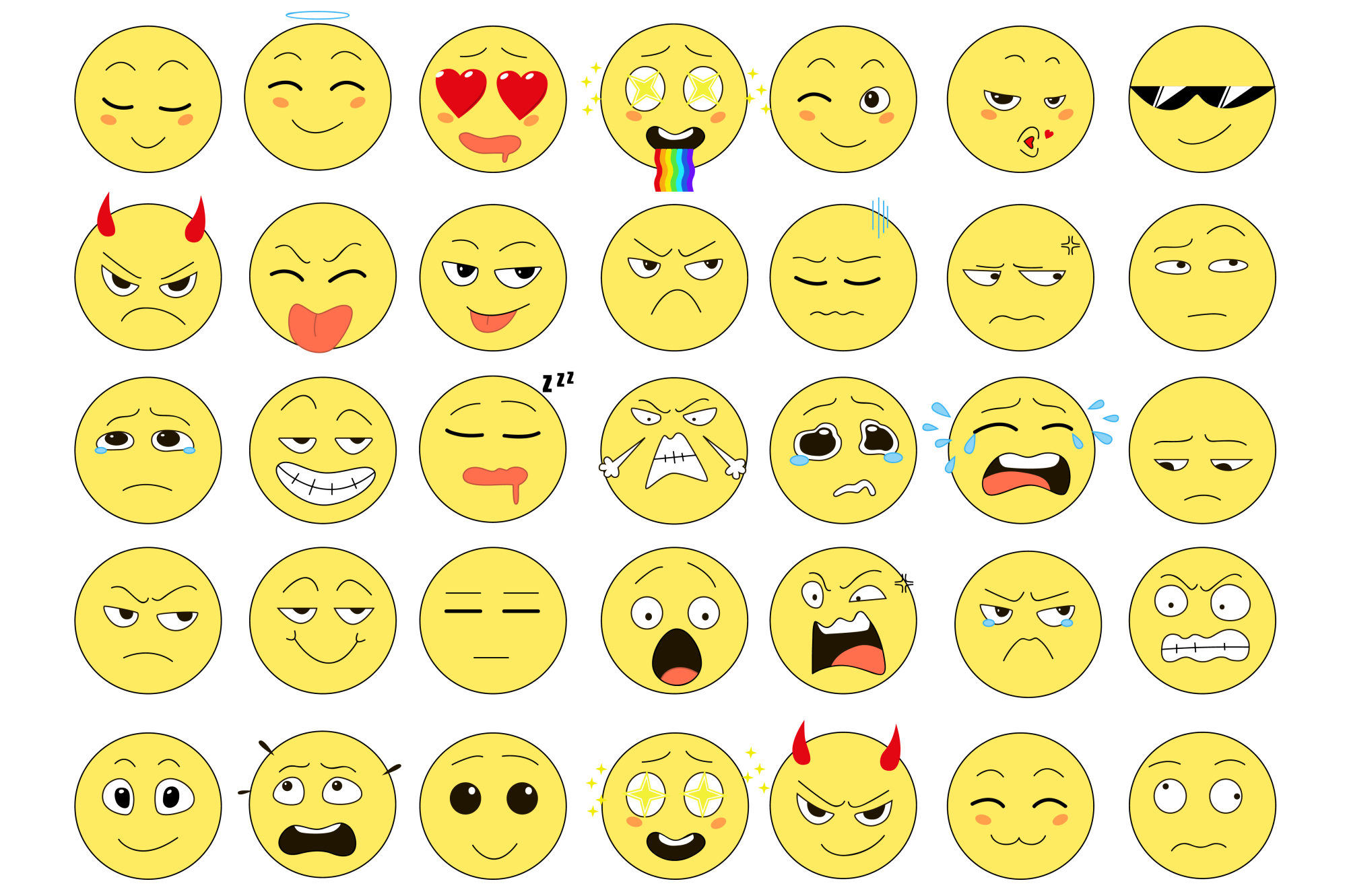 Set of 35 emoticons example image 2