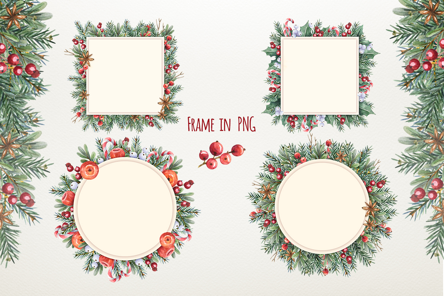 Magic Christmas set. Watercolor clipart collection example image 6