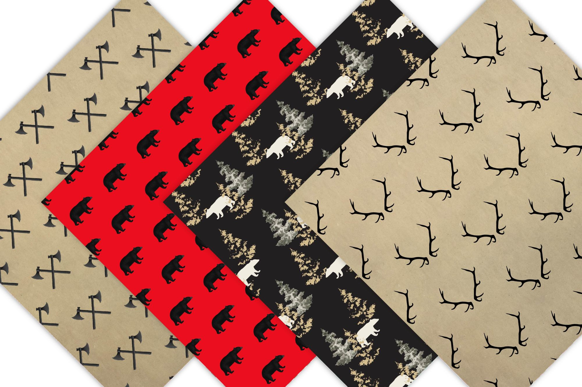 LumberJack Pattern Backgrounds, Digital Scrapbook Paper example image 4